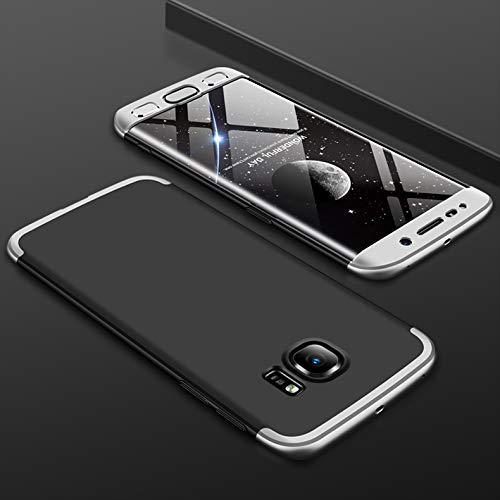 KeKeYM Ultra-dünne Case Cover für Galaxy S6, Hart PC 360 Grad Schutz 3 in 1 Kombination Anti-Scratch PC Full Body Schutz Stoßfest Schutzhülle für Samsung Galaxy S6 - Schwarz/Silber