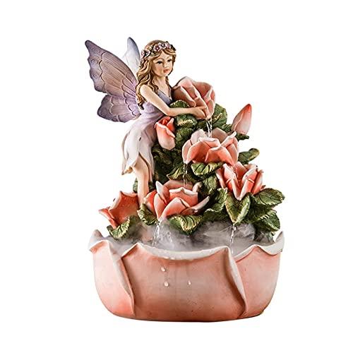 ZRJ Fuente de interior con diseño de ángel y flor de hada, para sala de estar, dormitorio,...
