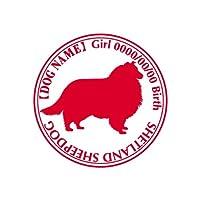 ワラ犬 シェットランドシープドッグ (シェルティー) ステッカー Cパターン ボーイリーズナブルレッド(赤)
