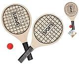 RSL Cool People Juego de 2 Raquetas de Playa y 1 Pelota - Palas de Madera y Bolas - Tenis de Playa frescobol Ping Pong - para niños y Adultos