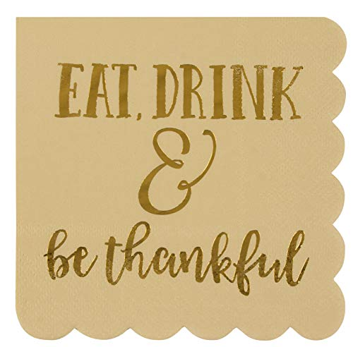 Scalloped Edged Cocktail Party Napkins (5 x 5 In, Beige, 50-Pack)