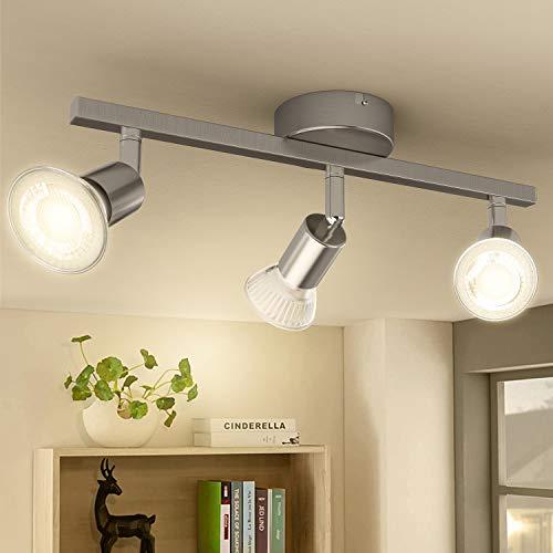 Led Deckenleuchte, 3 Flammig Schwenkbar Deckenstrahler, Inkl. 3 X 3w GU10 Deckenlampe Led Für Deckenspot Küchelampe Flurlampe Badezimmerlampe Kinderzimmerlampe Wohnzimmerlampe, 3000K Warmweiss