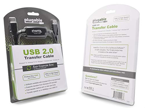 Plugable USB 2.0 Transfer Cable, Unlimited Use, Transfer Data Between 2 Windows PC's, Compatible with Windows 10, 8.1, 8, 7, Vista, XP, Bravura Easy Computer Sync Software Included