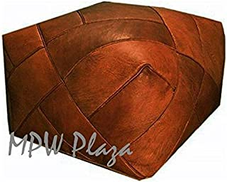 "MPW Plaza Zigzag Moroccan Leather Pouf, Stuffed, 23"" D x 16"" H (Rustic Brown)"