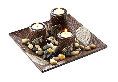 Kobolo Teelichthalter Dekoschale braun quadratisch mit DREI Kerzenhaltern