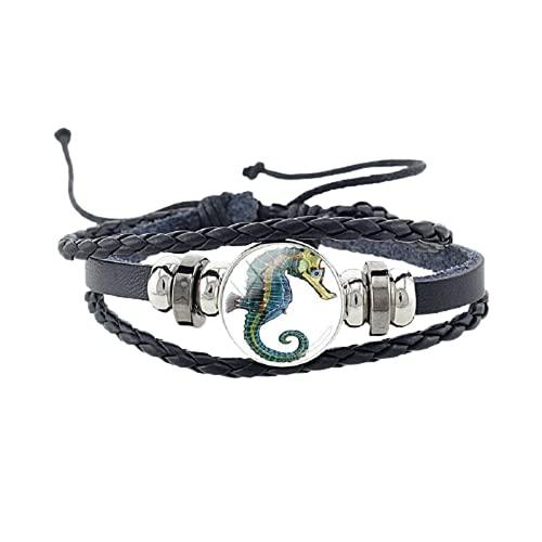 Pulsera de cuero/brazalete de caballito de mar Tortuga delfín pulsera moda brazaletes cuerda cadena joyería regalos