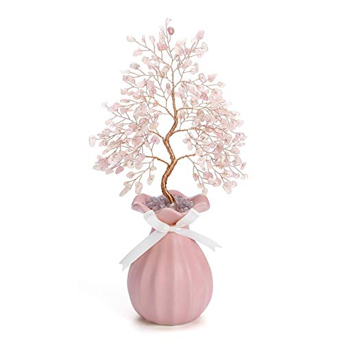 Jovivi Natural Rose Quartz Crystal Money Tree Healing Chakra Gemstone Bonsai Crystal Tree Ornament Feng Shui Decoration w/Ceramic Vase Base