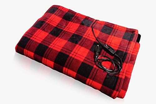 Warmin 12V Heated Electric blanket for Car/Truck/RV,Safe Premium Quality Flannel (plaid Red and Black) Your Best Travel Warm friend