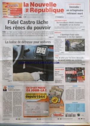 NOUVELLE REPUBLIQUE (LA) [No 19248] du 20/02/2008 - LA ROCHE-CLERMAULT - INCENDIE - FIDEL CASTRO...