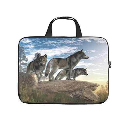 Facbalaign Funda para portátil con asa, diseño de lobo en la montaña, blanco, 15 pulgadas,