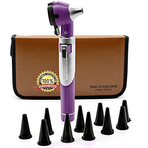 Cynamed Mini Otoscope - Portable Ear Light and Exam Kit for Home and Professional Use - 3X Magnifying Fiber Optic Scope with Spare Tips, Bulb, and Carrying Case - Pocket Diagnostic Equipment (Purple)