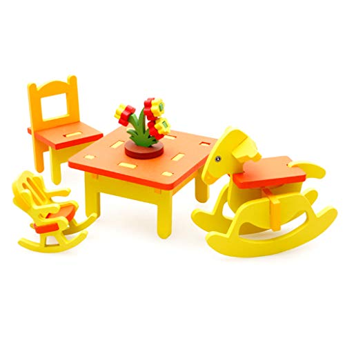 junengSO Furniture, 1 Set Colorful Wooden Doll Miniature House Accessories Furniture House Furniture