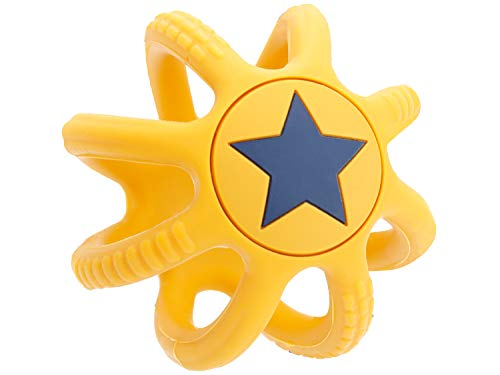 Bieco Beißring Baby Gelb, Ø 7 cm aus Silikon | Stressball zum Kneten | Greifball Für Babys | Beissring Für Baby Zum Zahnen | Motorikspielzeug Baby Ball Kinder | Knetball für Hände Therapie (Gelb)