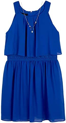 Amy Byer Girls Halter Popover Dress with Decorative Trim at Waist Cobalt 8 product image