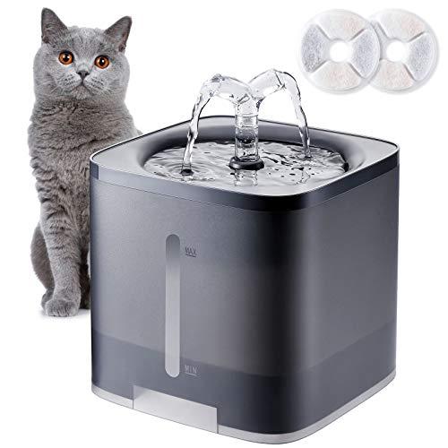 Vintoney Fuente de Agua para Gatos 2L, Bebedero Gatos automatico, Fuentes para Perros con Ventana de Nivel de Agua, Fuente de Agua para Mascotas con 2 filtros de carbón de Repuesto, súper silencioso