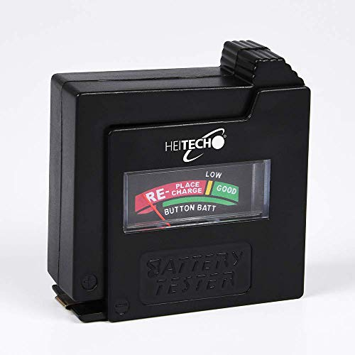 HEITECH Akku, Batterie & Knopfzelle Tester - Kapazitätsanzeige von Micro AAA, Mignon AA, Baby C, Mono D & 9V Block Akkus & Batterien sowie Knopfzellen - Universal Batterietester & Akkutester