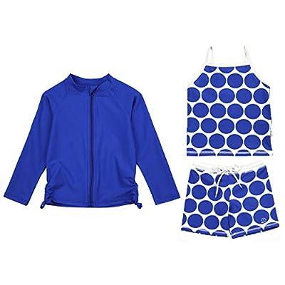 SwimZip Girls 3 Piece Long Sleeve Zipper Rash Guard, Tankini & Shorts | Dot - 3T