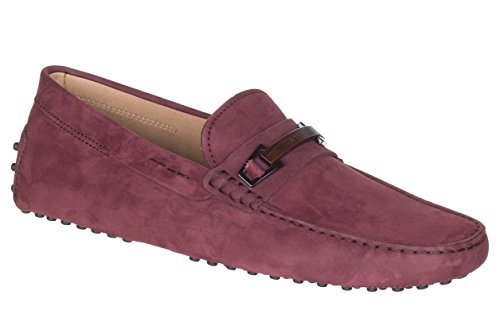 Tod's Men's Barolo Red Nubuck Gommino Buckle Driving Moccasin Loafer Shoes, Barolo, IT 9.5 / US 10.5