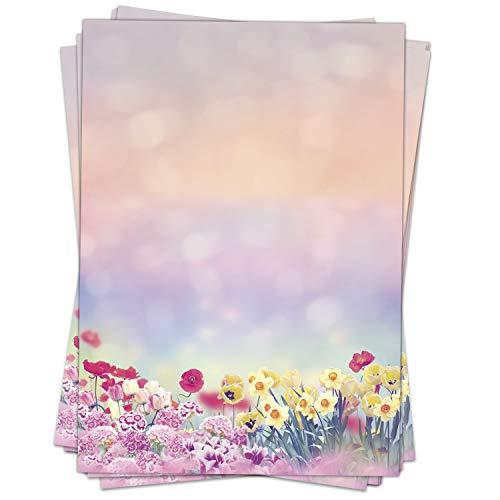 50 Blatt Briefpapier (A4) | Wiese im Frühling Romantik | Motivpapier | edles Design Papier | beidseitig bedruckt | Bastelpapier | 90 g/m²