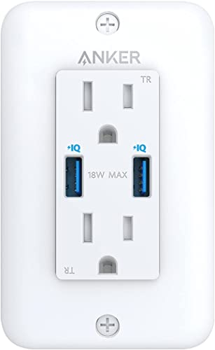 wholesale Anker USB Wall Outlets Charger, PowerExtend USB Wall Outlet, 2-Outlets and 2 USB-A,PowerIQ for iPhone Xs/XS discount Max/XR/X, Galaxy, easy Installation, new arrival Wall Plate Included, ETL Listed outlet online sale