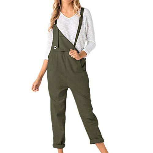 N\P Las mujeres sueltas Dungarees sueltas suaves y cómodas con bolsillos largos, mono y pantalones