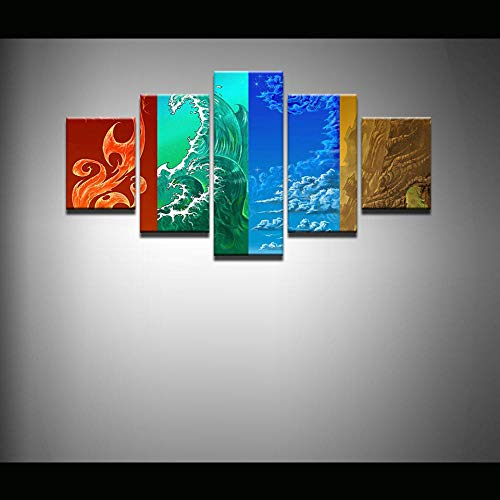 Pintura sobre Lienzo Arte de la Pared Imagen 5 Piezas Cartel Decoración para el hogar Fuego De Viento, Agua Y Suelo Mural Marco/150x80cm