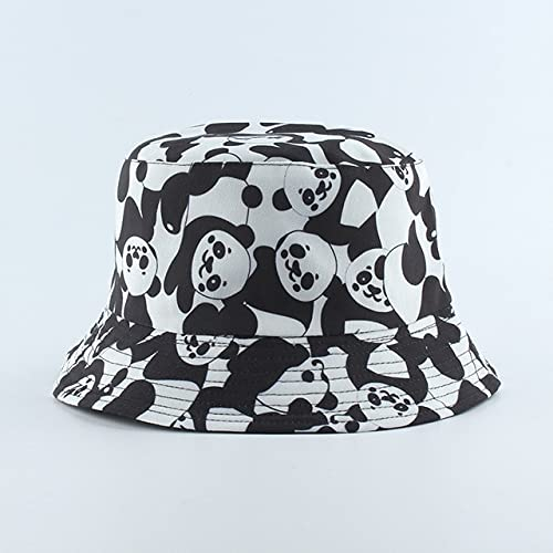 Nuevo Sombrero con Estampado de Moda, Sombrero de Cubo Negro y Blanco, Gorras de Pescador Reversibles, Sombreros de Verano para Mujer, Gorras-Panda