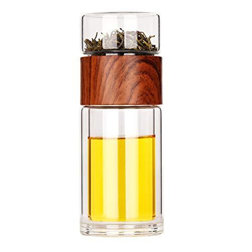 PPuujia Vidrio de separación de té 201-300ml Botella de agua de vidrio Infusor Vaso de doble pared Botella de vidrio de té Botella de separación de agua Taza de beber creativo