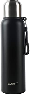GOOFIT Outdoor Sports Bottle Stainless Steel Vacuum Sealed Insulated Thermos 27Oz Black