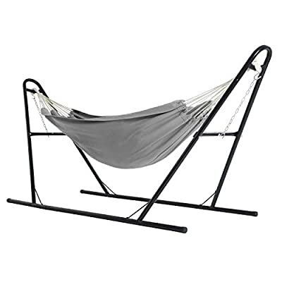 SONGMICS Hammock with Stand, 82.7 x 59.1 Inches, Sturdy Double-Rail Metal Frame with Extended Feet, Max. Load 550 lb, for Garden, Outdoor, Black Stand and Gray Hammock UGHS011G01