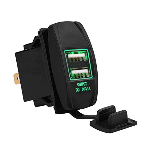 Cargador USB dual, adaptador de corriente dual del enchufe del cargador del coche de los puertos USB de la prenda impermeable 12-24V 3.1A con LED(verde)