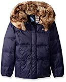Tommy Hilfiger Girls' Adaptive Puffer Jacket with Magnetic Buttons and Faux Fur Hood, evening blue Medium