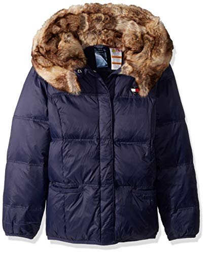 Tommy Hilfiger Girls' Adaptive Puffer Jacket with Magnetic Buttons and Faux Fur Hood, evening blue X-Small
