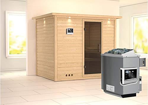 Karibu Sauna Sonara inkl. 9-kW-Ofen mit externer Steuerung, mit Dachkranz, mit moderner Saunatür