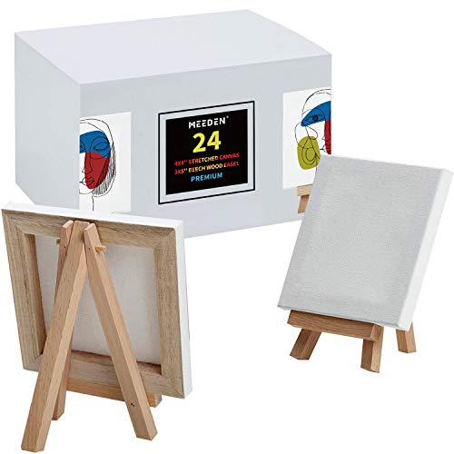 MEEDEN Mini Stretched Canvas with Beech Wood Easel of 24Pack, 4' by 4' Primed Canvas with 3' by 5' Tiny Easel for Painting Craft Drawing Decoration Gift