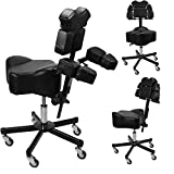InkBed Patented Adjustable Ergonomic Chair Stool Chest Back Rest Support Tattoo Studio Equipment (Black)