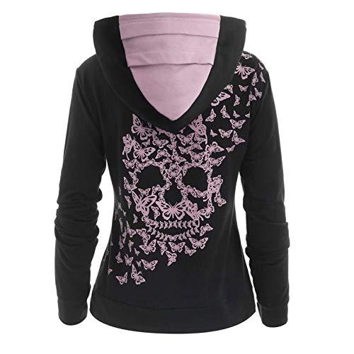 HINK Blusa de Mujer, Sudadera con Capucha con Estampado de Calavera de Mantequilla para Mujer, Sudadera con Capucha, Jersey de Invierno para Mujer para Navidad (Negro-5XL)