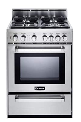 "Verona VEFSGG244NSS 24"" Pro-Style All Gas Range Oven Convection Stainless Steel"