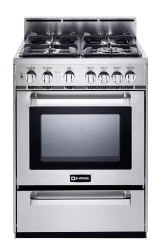 Verona VEFSGG244NSS 24' Pro-Style All Gas Range Oven Convection Stainless Steel
