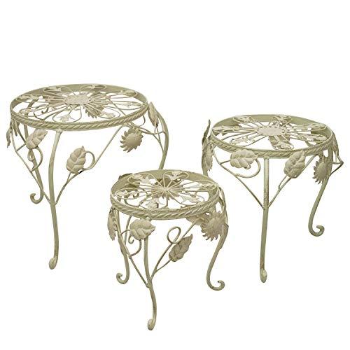 aubaho 3X Fleur Banc, Fleur Tabouret Plant Banquette, Jardin Style Antique métal Blanc