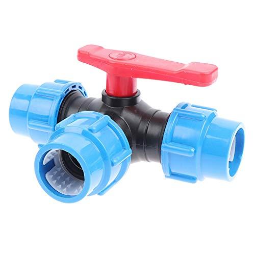 MDD Válvula De Tubería Rápida De Tres Vías De PE, Válvulas De Plástico T-Tipo T-Tipo Diámetro Interno 20/25/32/40/50/63mm (Color : Blue, Size : 32mm)