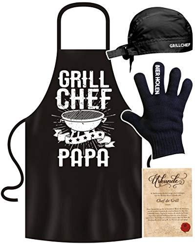 Doris & Toms Geschenkartikel Grillschürze Grill Chef Papa mit Bier Handschuh und Grillmütze