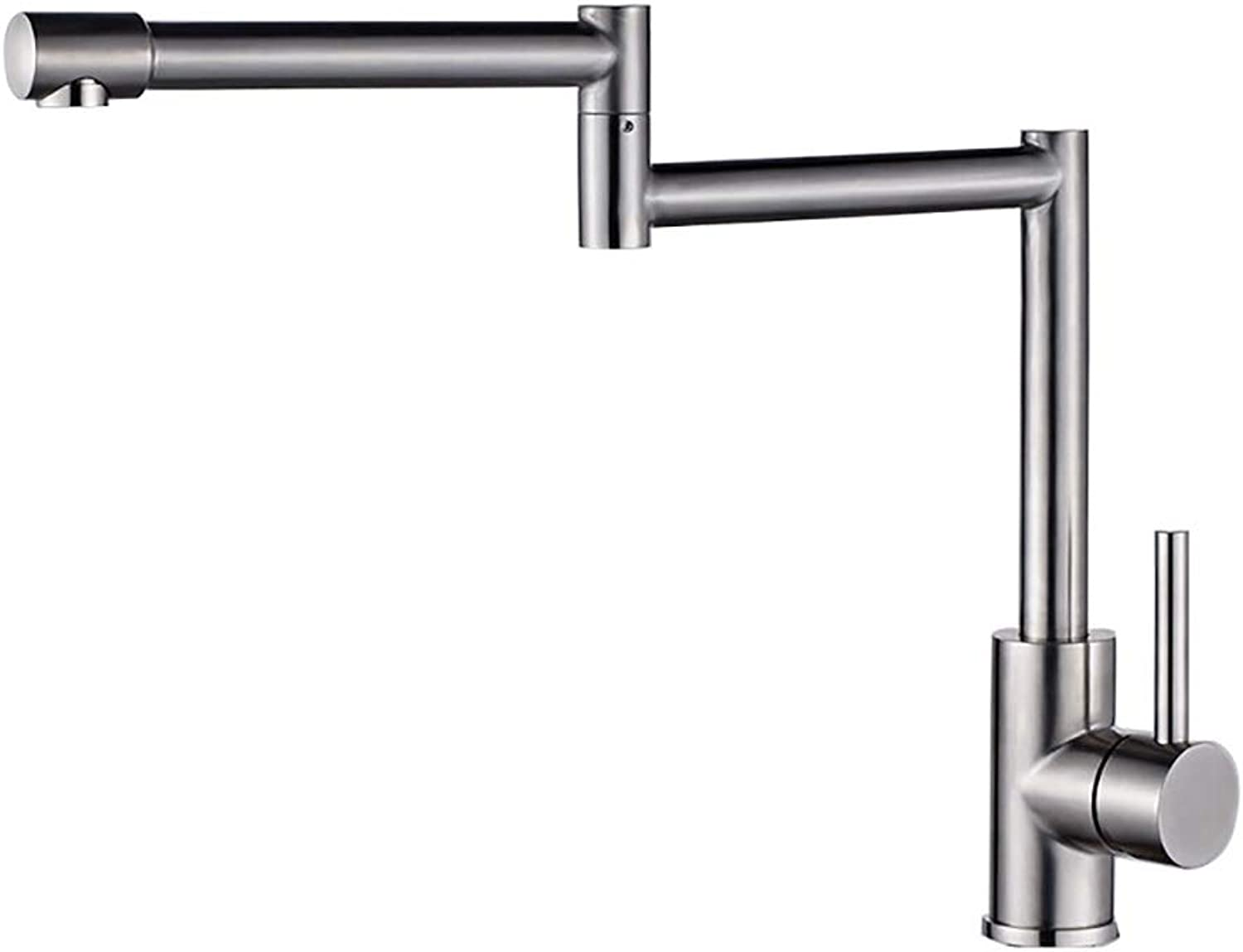 WYRSXPY Basin Tap Kitchen Faucet Brushed Stainless Steel Kitchen Sink Tap Fold Plating Mirror Faucet Hot And Cold Water Tap (color   Silver)