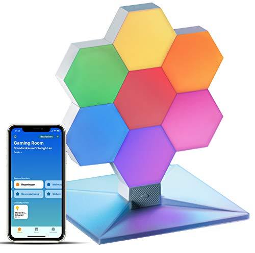 Cololight PLUS - RGB LED-Panels mit App-Steuerung, kompatibel mit Apple Homekit, Amazon Alexa, Google Home (EXTENDED (1x Controller, 7x Modul, 1x Standfuß))