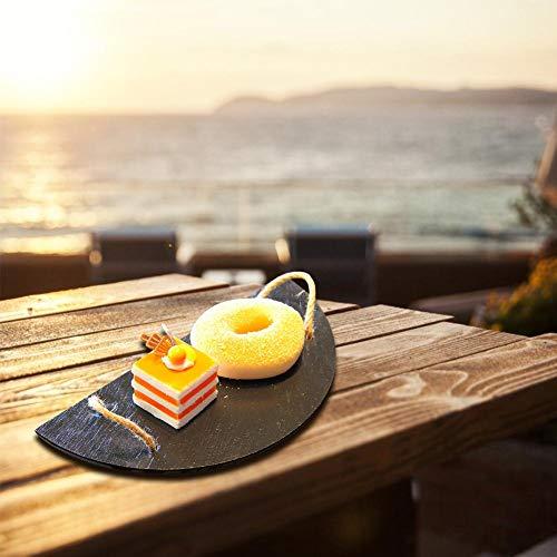 LyhomeO Placa De Personalidad Creativa Placa De Pizarra Placa De Pizarra Semicircular Soporte De Pastel De Piedra Suministros De Hotel Vajilla Japonesa
