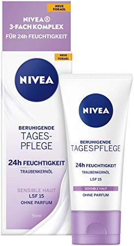 NIVEA Beruhigende Tagespflege 24h Feuchtigkeit (50 ml), Gesichtscreme für sensible Haut, Tagescreme mit Traubenkernöl und Süßholzextrakt