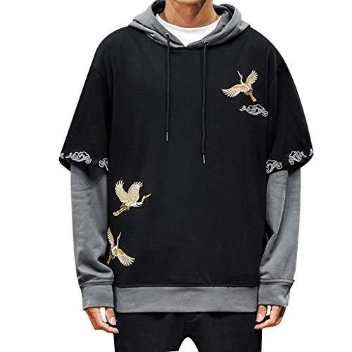 Kran Stickerei Vintage Chinesische Jacke Herren Trainingsjacke Sweatshirt Teenager Hippie Pullover Hoodie mit Taschen Sweatjacke Sport Yoga Softshell Bodywarmer Winterjacke Outdoor Übergangsjacke