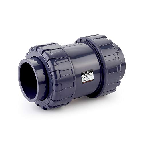 HYDROSEAL Sharkfellow 3'' PVC True Union Ball Check Valve with Full Port, ASTM F1970, with EPDM Seals, Corrosion-Free, Service Free, Rated at 200 PSI @73F, Gray, 3 inch Socket (3'')