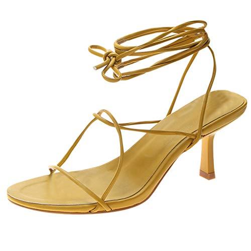 Tongshi Moda Mujer Corbata Casual Zapatillas Al Aire Libre Sandalias De TacóN Alto Correa Sandalias TacóN Alto Grueso con Sandalias De Moda