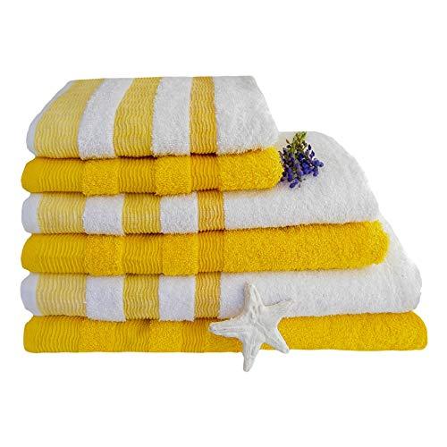 KUTEX Set di 6 Asciugamani 100% Cotone 550 Grammi con Bordo colorato/ 2 Teli Bagno + 2 Asciugamani + 2 Ospiti in Diversi Colori (Giallo Lemon)